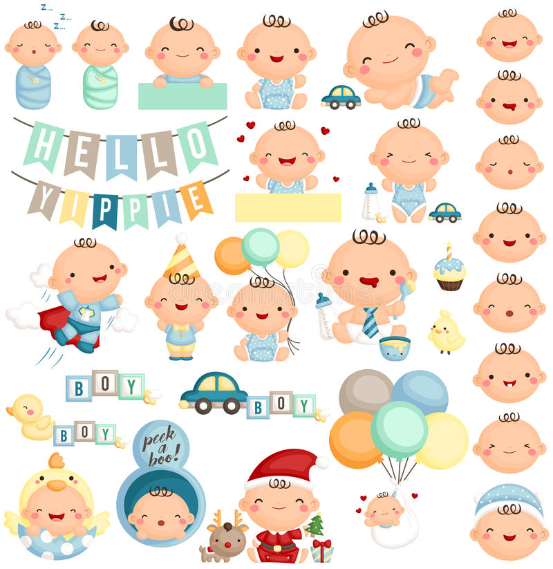 Baby Boy Milestone Vector Set royalty free illustration