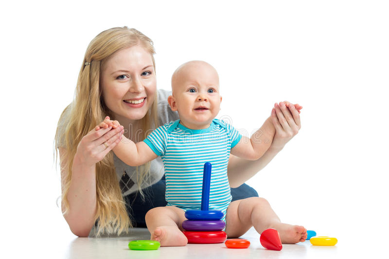 Download Baby Boy And Mother Playing Together With Toy Stock Photo - Image: 28268954