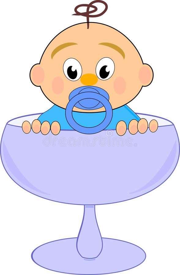 Baby boy with nipple in blue glass