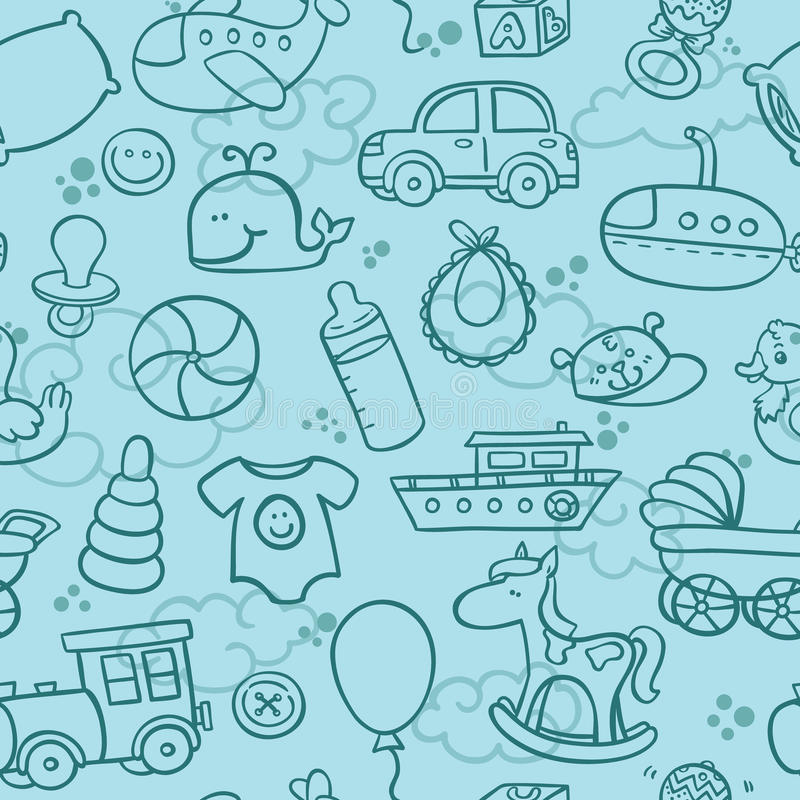 Baby boy pattern. Outline seamless pattern for boy vector illustration