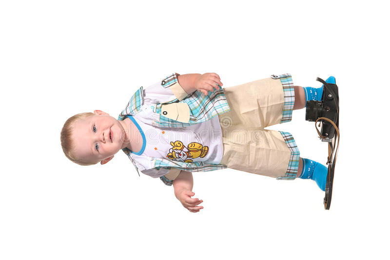 Baby boy photographer with old camera royalty free stock image