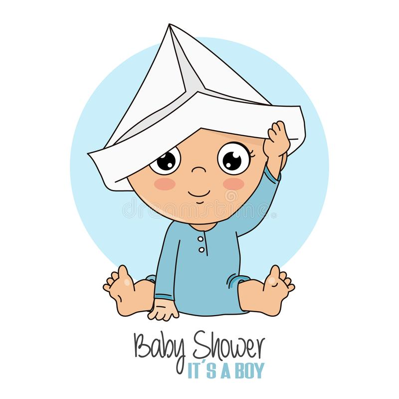 Baby boy playing with a paper cap. Baby shower card vector illustration