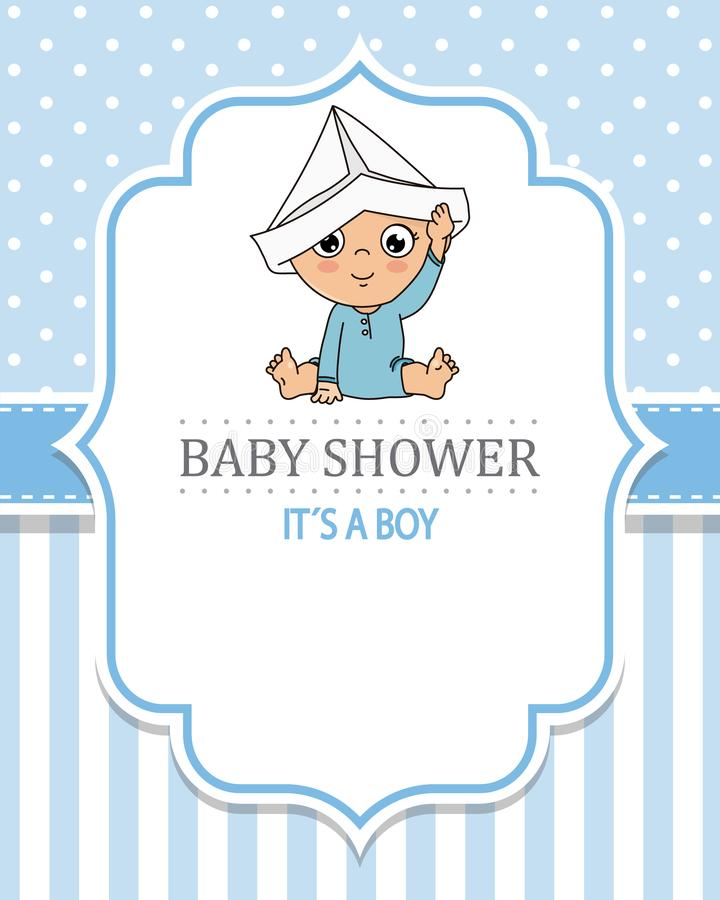 Baby boy playing with a paper cap. Baby shower card royalty free illustration