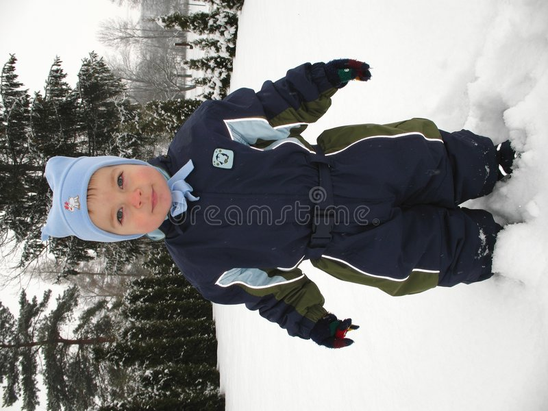 Download Baby boy playing in snow stock photo. Image of cute, child - 3937292