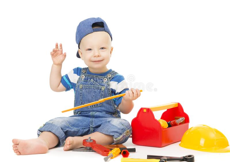 Baby Boy Playing Tools Toys, Child with Construction Tool Box stock photography