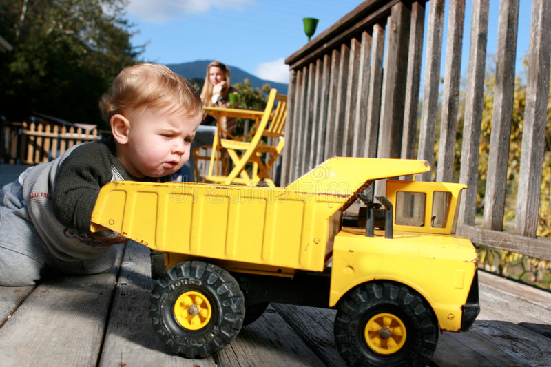 Download Baby Boy Playing With Truck Stock Image - Image: 9172707