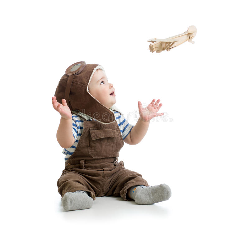 Free Baby Boy Playing With Wooden Plane Royalty Free Stock Photos - 40470908