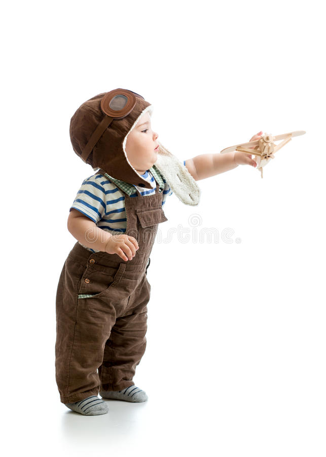 Free Baby Boy Playing With Wooden Plane Royalty Free Stock Photography - 40776307