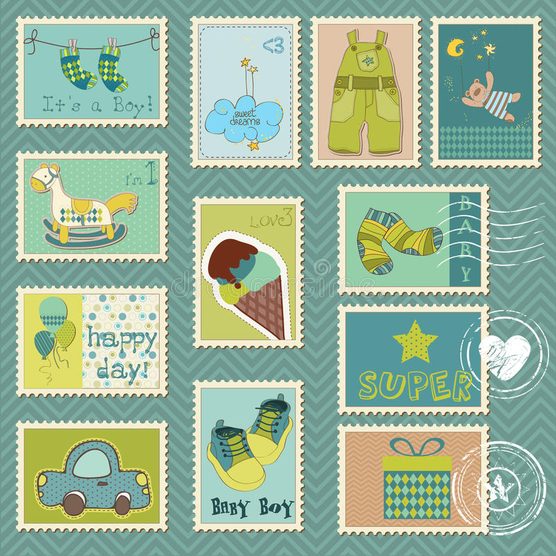 Download Baby Boy Postage Stamps Royalty Free Stock Image - Image: 19180906
