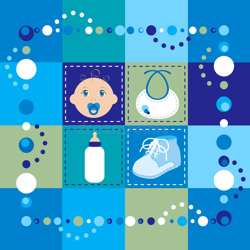 Baby Boy Quilt. Vector Illustration of baby boy quilt. Patchwork or sewing, background royalty free illustration