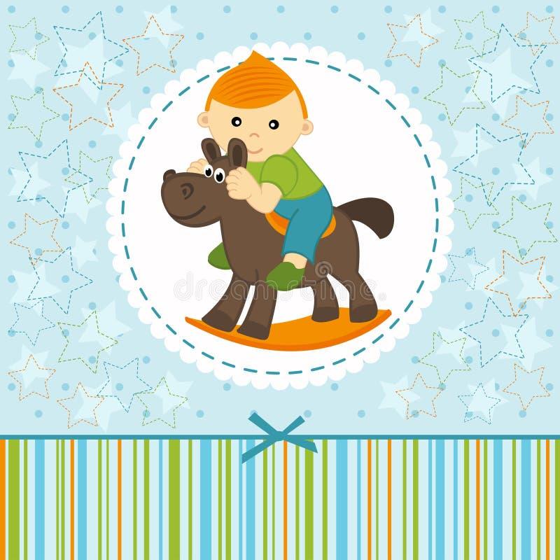 Baby boy riding on the horse. Vector illustration vector illustration