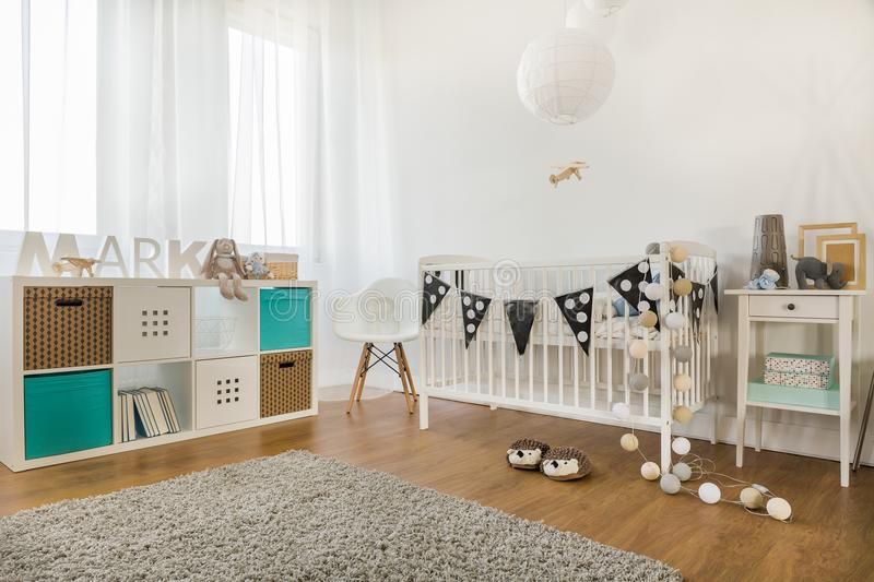 Baby boy room. Horizontal view of baby boy room decoration royalty free stock photo