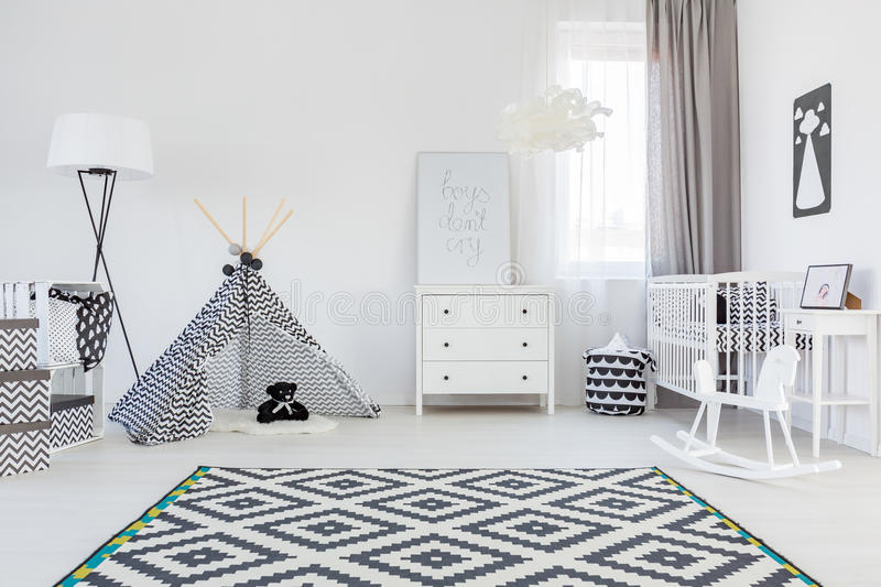 Baby boy room with tent stock image