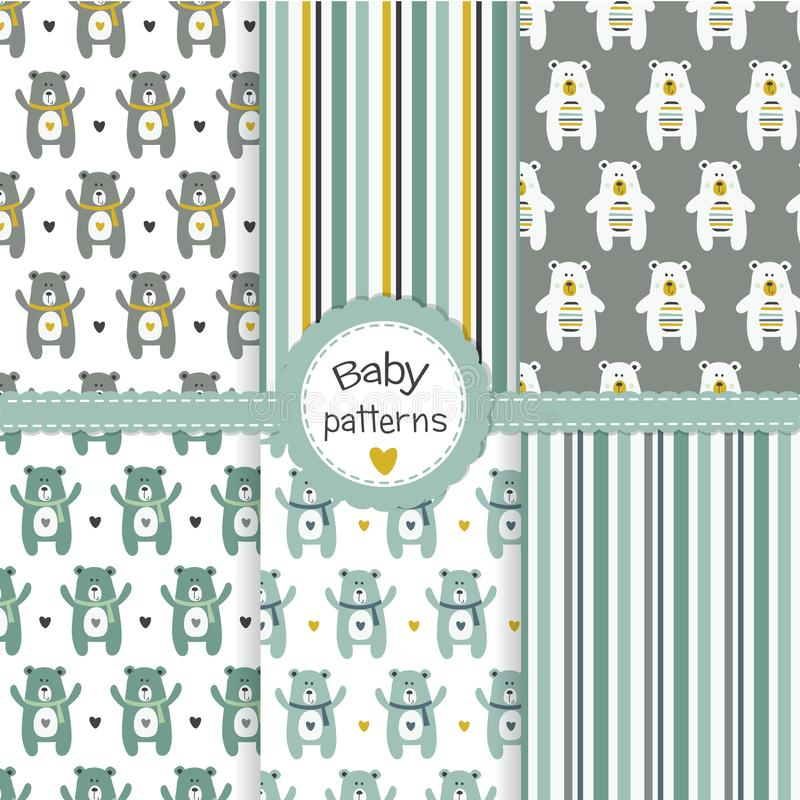 Baby boy seamless patterns set with bears royalty free illustration