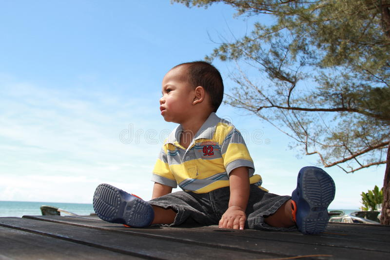 Download Baby boy at a seaside stock image. Image of childhood - 17824263