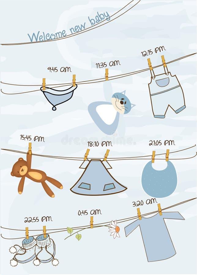 Baby boy shower announcement card vector illustration