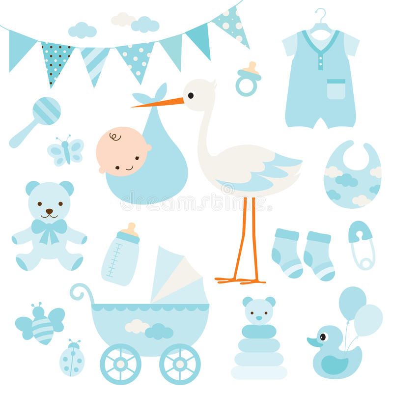 Baby Boy Shower and Baby Items royalty free illustration