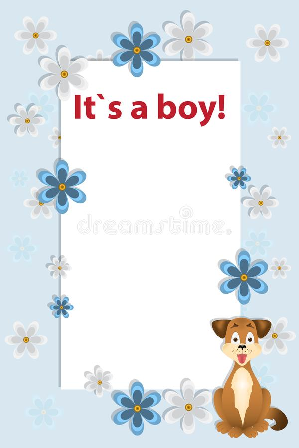 Baby boy shower card. Arrival card with place for your royalty free illustration