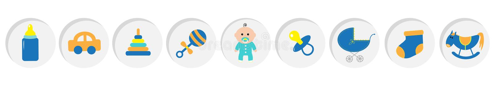Baby boy shower card with bottle, horse, rattle, pacifier, sock, car toy, baby carriage, pyramid. Its a boy. Round icon set line. White background. Flat design stock illustration