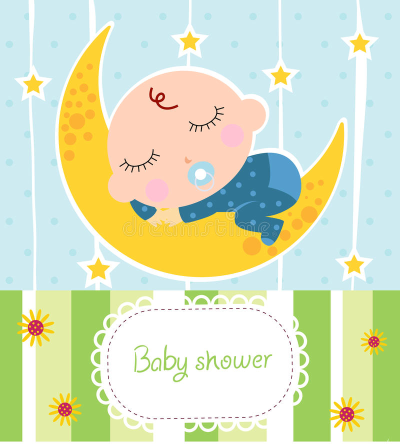 Baby boy shower card. Cartoon royalty free illustration