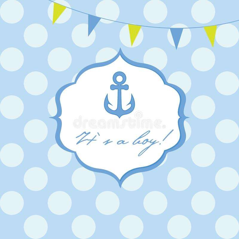Baby boy shower card with cute anchor on seamless polka dots. Background stock illustration