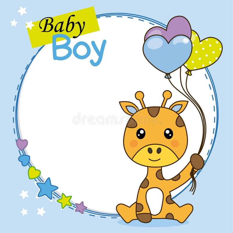 Baby boy shower card. Cute giraffe with balloons. Space for text stock illustration