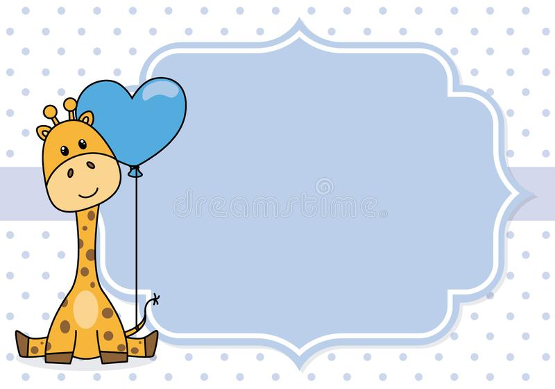 Baby boy shower card.Giraffe with a balloon. Space for text vector illustration