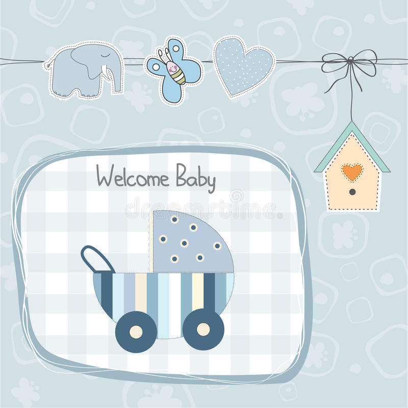 Baby boy shower card with stroller stock illustration