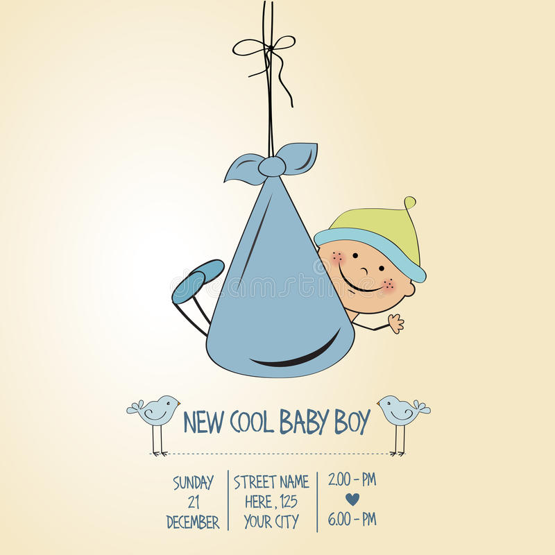 Baby boy shower card. Vector eps10 royalty free illustration