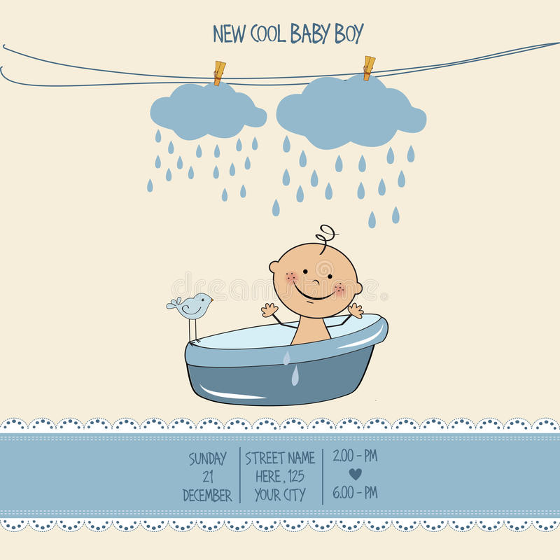 Baby boy shower card. Vector eps10 stock illustration