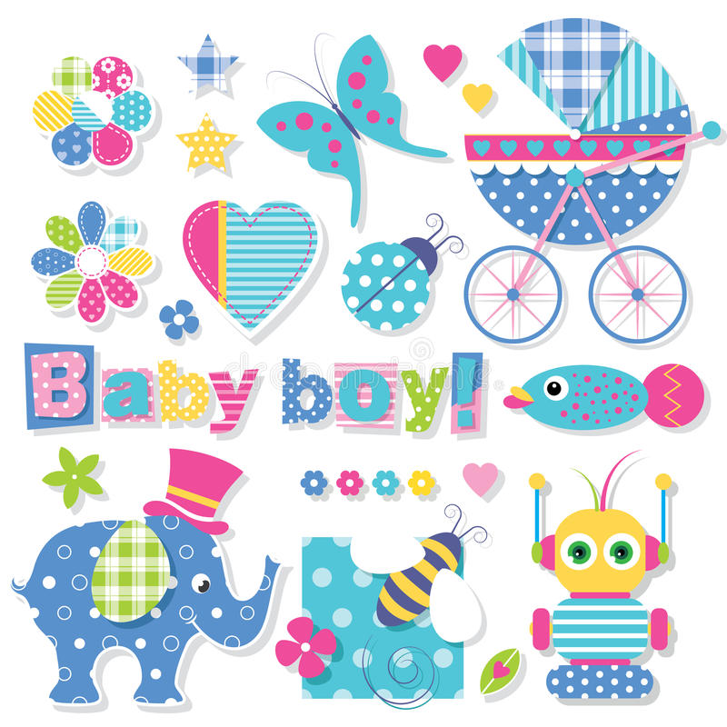 Baby boy shower collection. Illustration of cute elephant, bee, robot, fish, baby stroller, ladybug, stars, hearts and flowers with baby boy typography on white vector illustration