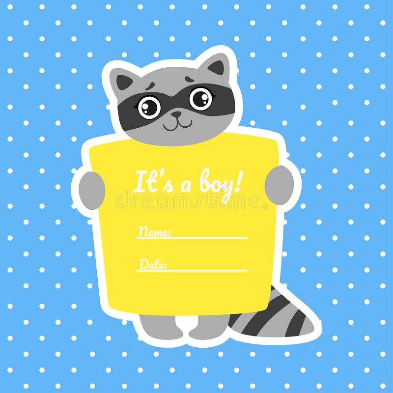 Baby Boy Shower Invitation Template on Blue Polka Dot Background, Card with Cute Raccoon and Place For Your Text Vector vector illustration