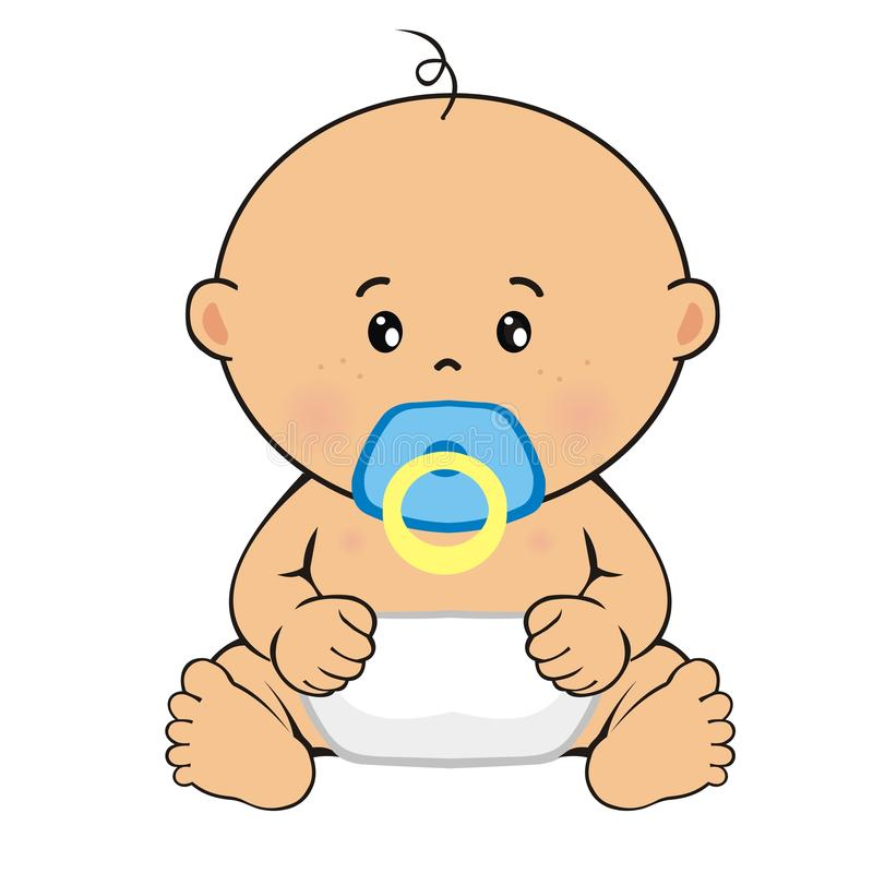 Baby boy sitting. Child`s drawing royalty free stock photography