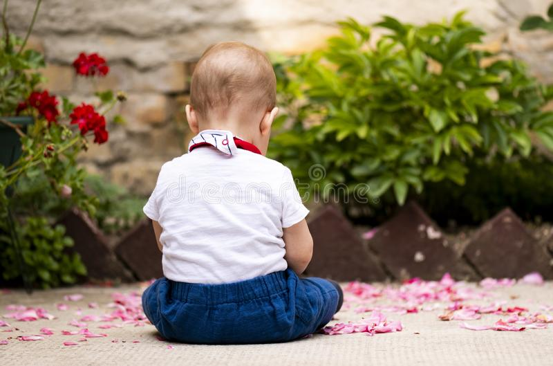 The baby boy is sitting. In the yard royalty free stock image