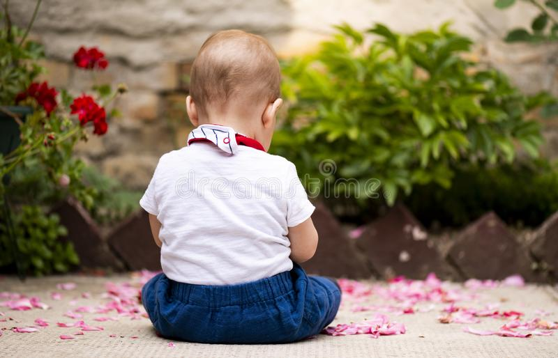 The baby boy is sitting. In the yard stock images
