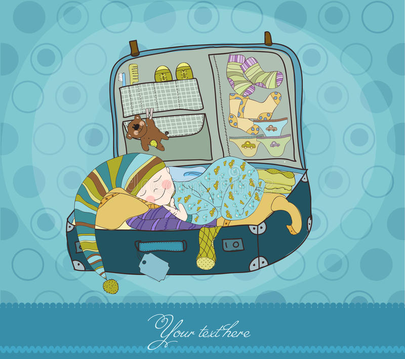 Download Baby Boy Sleeping In Suitcase Stock Vector - Illustration of birthday, clothes: 16592179