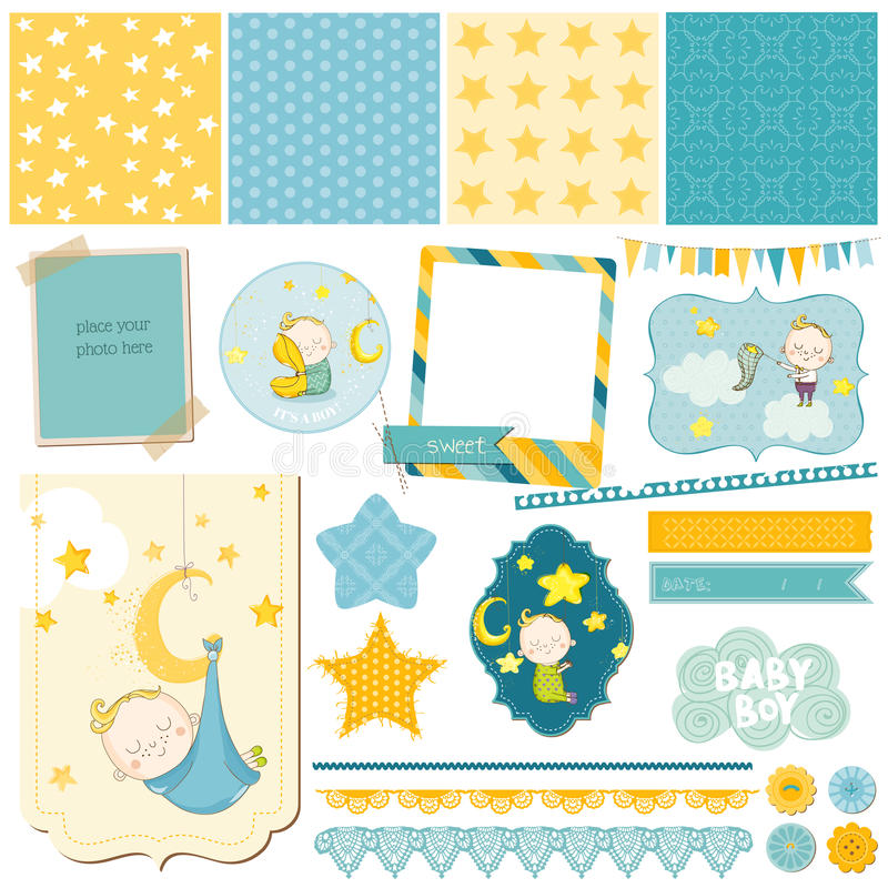 Baby Boy Sleeping Theme for Party, Scrapbook stock illustration