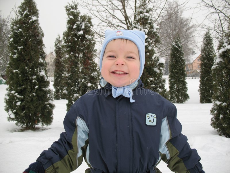 Download Baby boy smile stock photo. Image of snow, satisfied, nature - 3937348