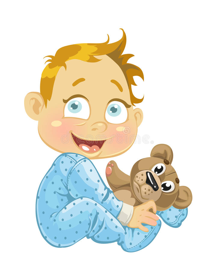 Baby boy with a soft toy bear royalty free stock photography