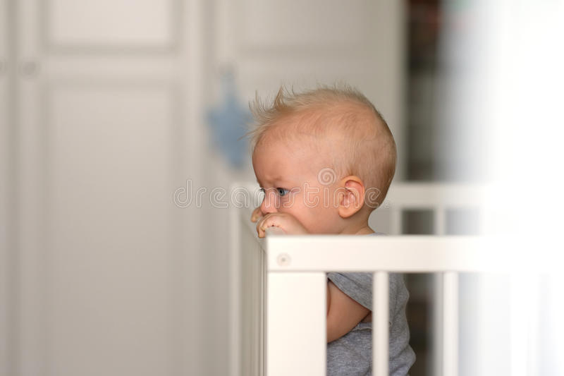 Baby boy standing in crib. Baby boy with blue eyes standing in crib royalty free stock photos