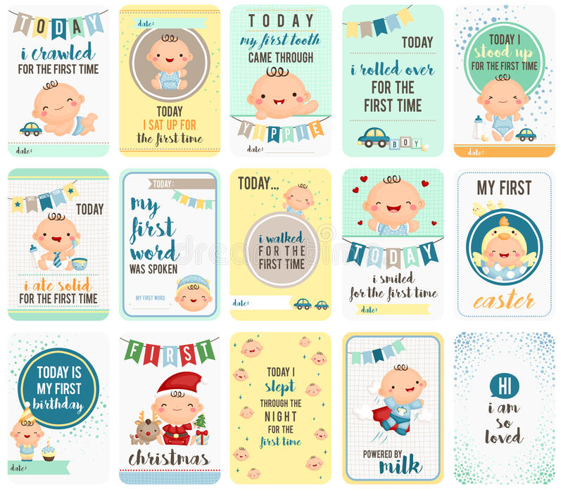 Baby Boy Stepping Stone Cards stock illustration