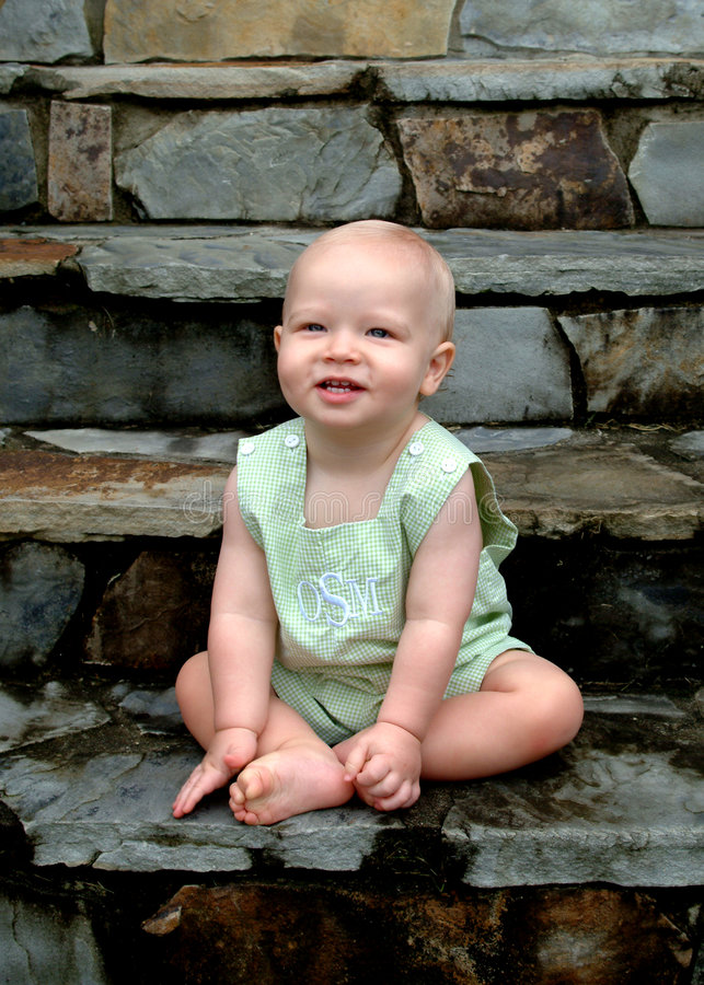 Download Baby Boy on Steps stock photo. Image of smiles, baby, blond - 5013230