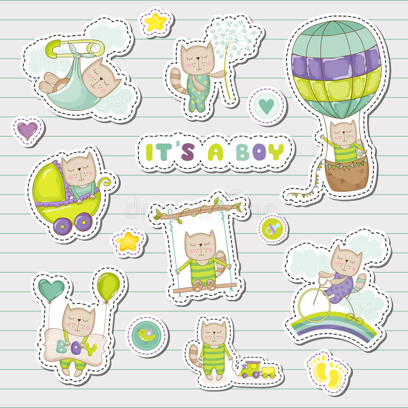 Baby Boy Stickers for Baby Shower Party Celebration. Decorative Elements for Newborn Celebration. Vector illustration vector illustration