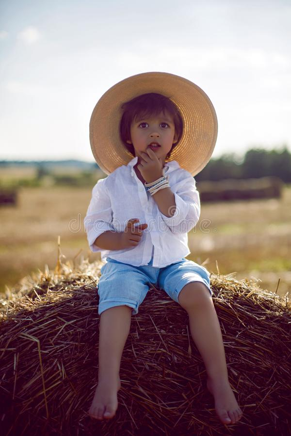 Baby boy in straw hat and blue pants sitting on a haystack in a field stock photo