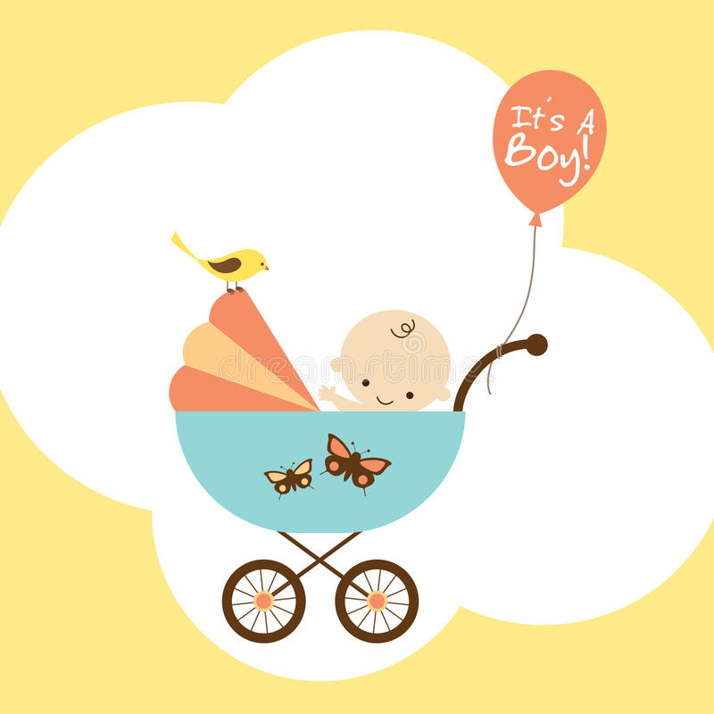 Download Baby Boy in Stroller stock vector. Image of bird, infant - 13414189