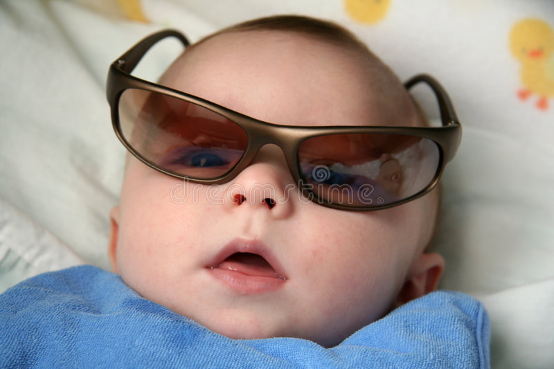 Baby Boy with Sunglasses. Close up of Baby Boy Wearing Sunglasses royalty free stock photography