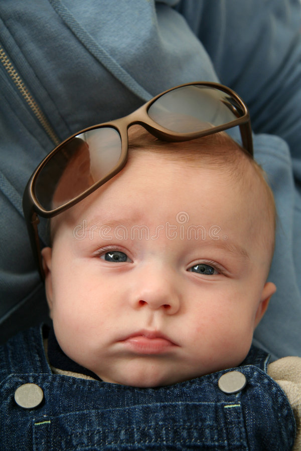 Baby Boy with Sunglasses. Close up of Baby Boy Wearing Sunglasses royalty free stock images
