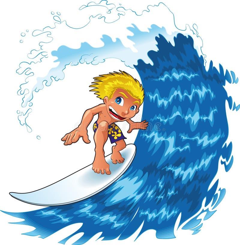 Baby boy surfing