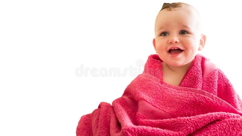 Baby boy in the towel stock photos