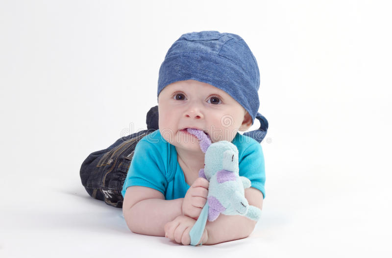 Baby boy with toy stock image